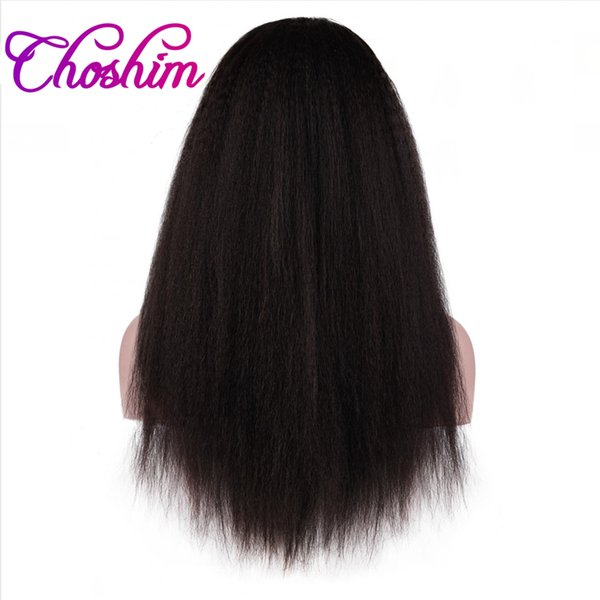 Choshim KL Full Lace Human Hair Wigs Kinky Straight 150% Density Brazilian Remy Hair Lace Wigs With Baby Hair For Black Women