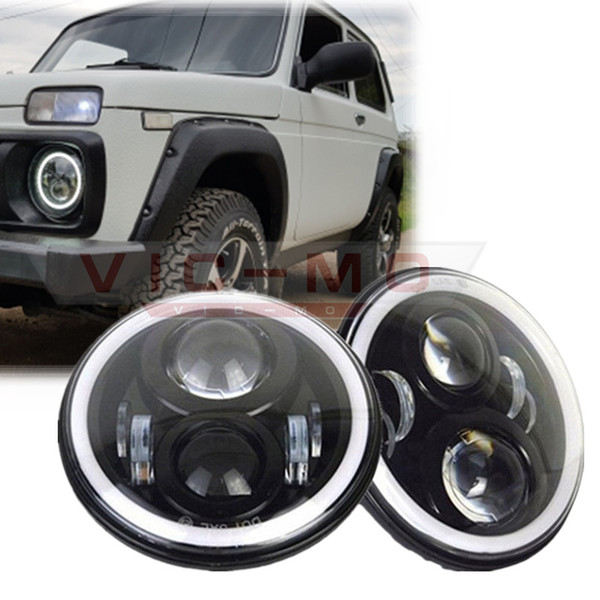 """7"""" Inch Round H4 LED Daymaker Projector Headlights For Jeep Wrangler Lada Niva 4x4 Hummer H1 H2 Halo Angel Eyes DRL Led Headlamp"""