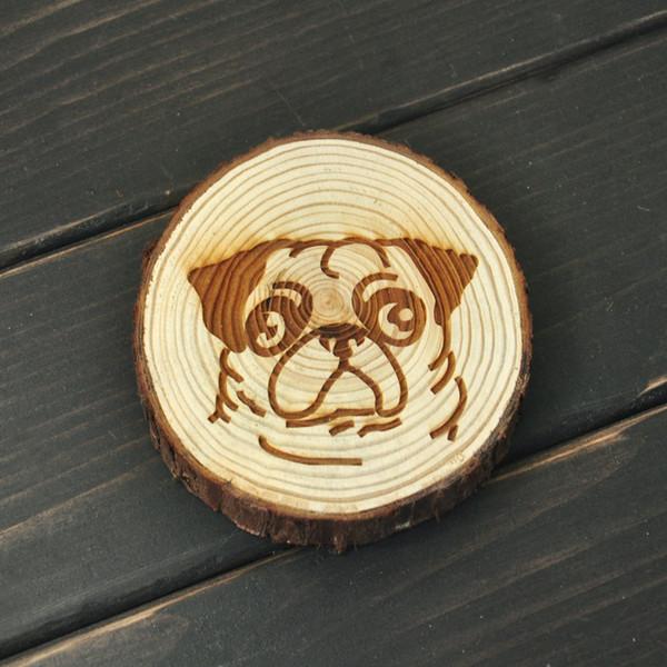 Toptan-Pug Köpek Coaster, Rustik Ahşap Bardak, Ağacı Dilim Köpek Coaster, Pug Ahşap Coaster, Mutfak Dekor, Köpek sevgilisi için en iyi hediye