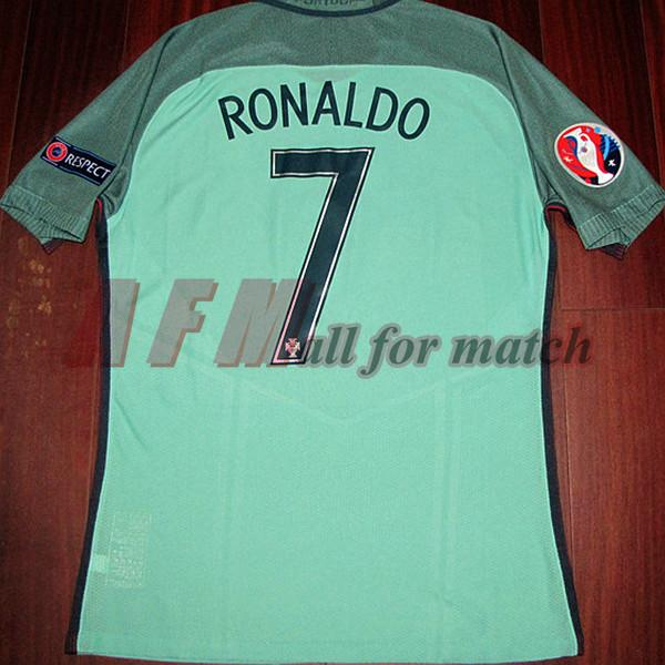 RUGBY EuCup 2016 Match Worn Player Issue Away Shirt Ronaldo Nani Quaresma Football Rugby Custom Name Number Patches Sponsor