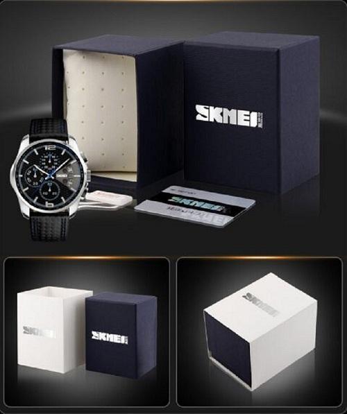 SKMEI Orologi da uomo d'affari in pelle moda cinturino orologi da polso al quarzo analogico casual da polso impermeabile sport militare orologio pacchetto di vendita al dettaglio