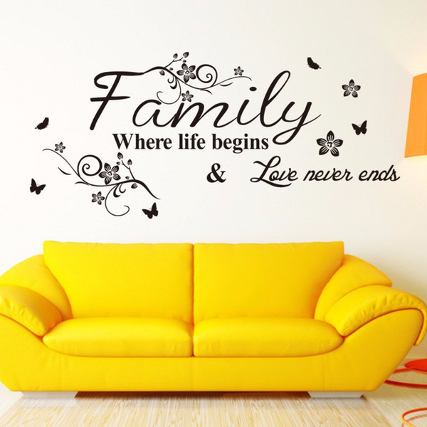2019 English Word Family Living Room Sofa Wall Decals Home Decoration  Wallpaper Painting Removable Wall Sticker Home Decor PVC From Nogo, $1.61 |  ...