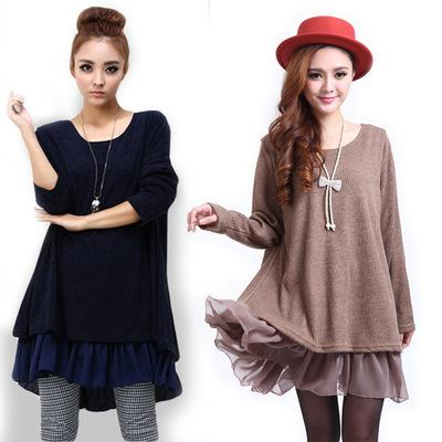 Maikun korean style plus size dress for women long sleeve chiffon dress 5 Colors free shipping
