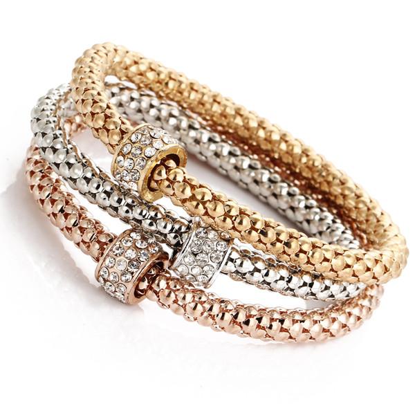 Fashion Women Shambhala Bracelet Bangles Mixed Color 3pcs/lot Elastic Stretch Bracelet Crystal Charms Popcorn Bracelet Jewelry
