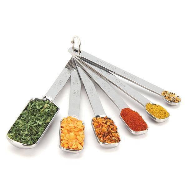 cuchara de medición de acero inoxidable 6pc fijó boca estrecha para el tarro de especias ingredientes líquidos cucharada de café cucharadita cucharada de bicarbonato de utensilio de cocina