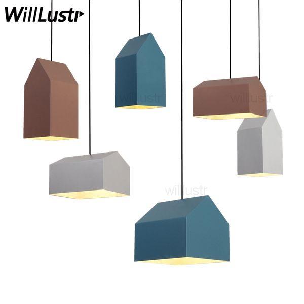 Nordic house metal pendant lamp North Europe modern design home dinning room light suspension lights pink blue white color minimalist light