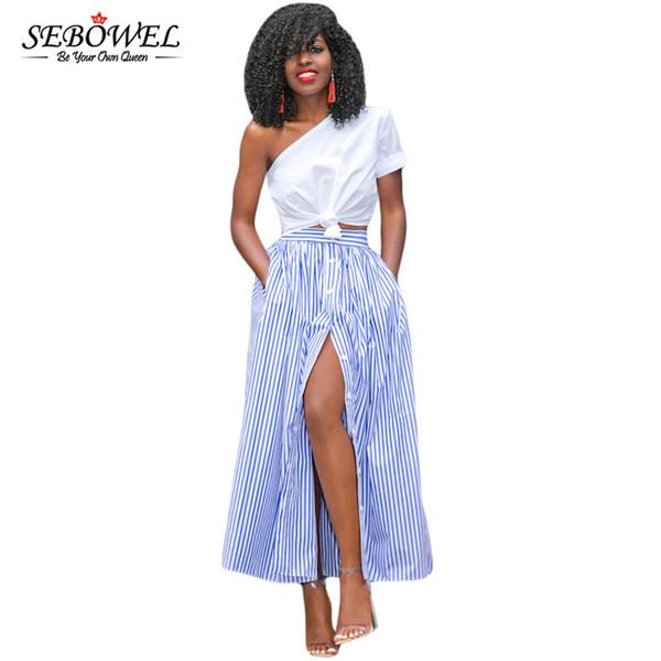 97d0b6112 Compre SEBOWEL Otoño 2017 Azul Rayas Blancas Botón Frontal Ranura Maxi  Falda Cintura Alta Vintage Casual Mujeres Faldas Largas Faldas Saia Q1113 A  ...