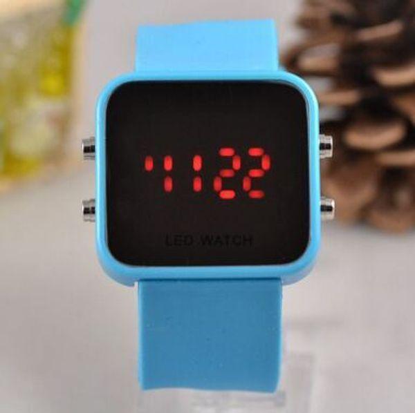 LED relógio de espelho de plástico por atacado de moda gel de sílica LED relógio espelho face watch lady watch