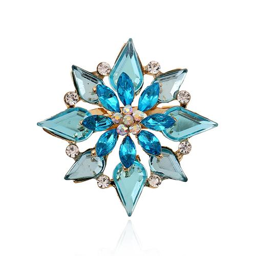 Crystal Butterfly Brooch for Women Rhinestone Broche Fashion Bijouterie Wedding Jewelry Gold Plated Blue Flower Pin Free Shipping DHH155