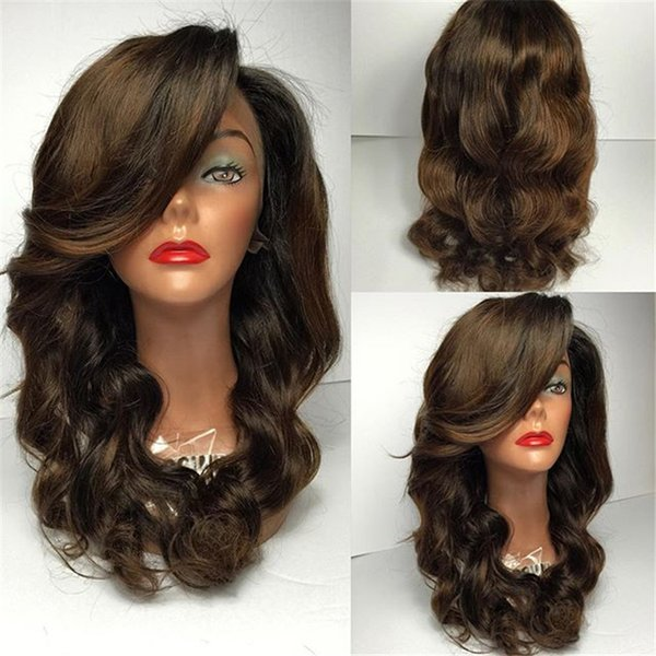 Natural Wave Long Length Glueless Full Lace Human Hair Wigs with Baby Hair Around Color #2 Brazilian Lace Front Wigs for Black Women