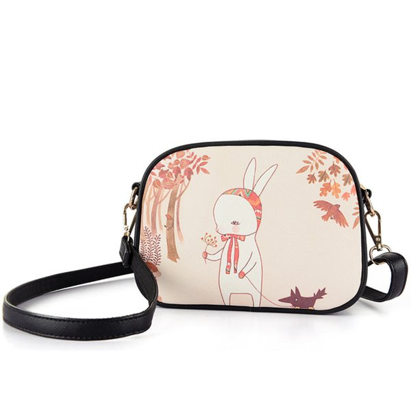 1pcs/lot DIY Cat Story/Flower Girl/Lost Zebra/Forest Walk Cartoon Printing Women Messenger Bag In Shoulder Bag Girls Mini Cross-body Bag