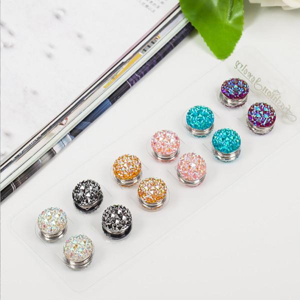 12pair/lot Round square flower resin Magnet Inlay rhinestones Elegant magnet brooch hijab accessories muslim pin scarf buckle