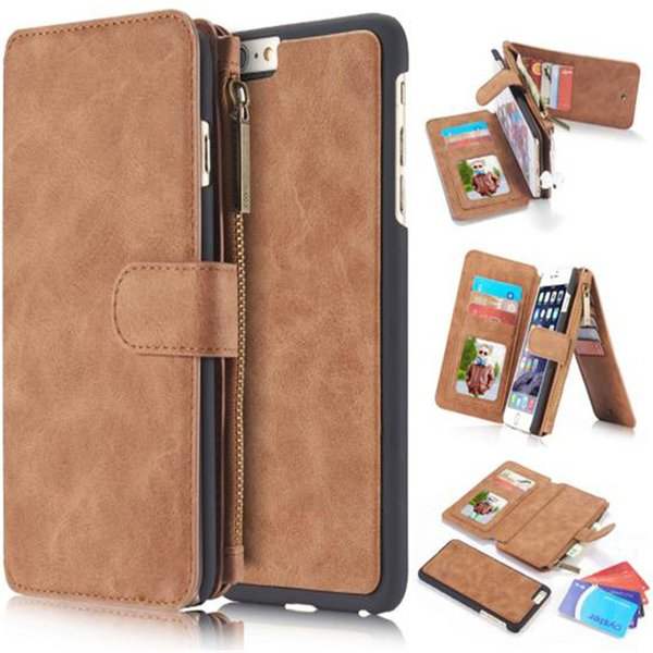 For iphone 6plus S7 Wallet case Multi-functional 2in1 Magnet Detachable Removable Vintage Cover Wallet Case For Samsung Galaxy S5 SCA172