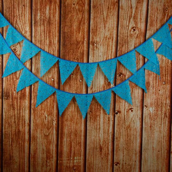 Gros-12 Drapeaux 3.3 m Vintage Bleu Dentelle Tissu Bunting Mariage De Mariage Décoration Bannière anniversaire décorations de fête enfants
