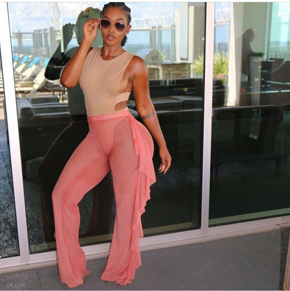 top popular Wide Leg Pants 2016 Hot Summer Women Ruffle Swim Mesh Beach Pant Sexy Loose Black Pink See Through Mid Waist Long Pants S-XL 2019