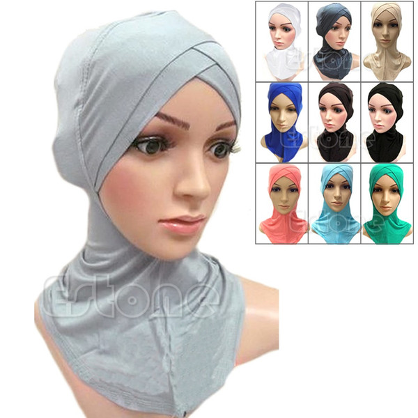 best selling Wholesale-Muslim Cotton Full Cover Inner Hijab Caps Islamic Hats Islamic Underscarf Colors