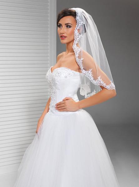 Elegant Best Sale High Quality Elbow Length Veils White Ivory Lace Applique veil Mantilla Veil Bridal Head Pieces For Wedding Dresses