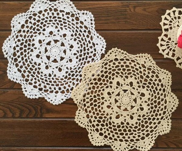 Wholesale- 28CM Kawaii lace cotton table place mat pad DIY crocheted placemat cup round happy coaster mug holder doilies kitchen tableware