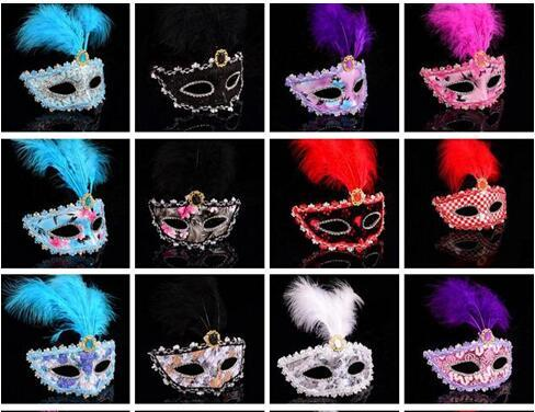 Hot Sale Halloween Feather Mask Masquerade Party Festival Bar Mask Lady Mask Mixed Color
