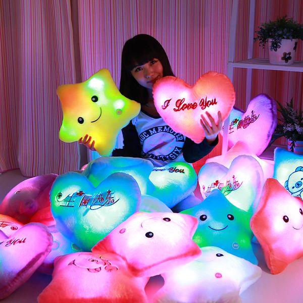 best selling Led Light Pillows Lucky Star Bear Heart-Shaped Luminous Pillow Plush Stuffed Pillow Toys for Children Kids Birthday Party Gift