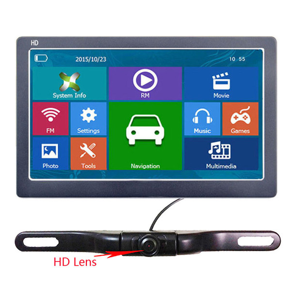 7 Inch Car GPS Navigator HD 800*480 LCD Touch Screen Bluetooth AVIN Truck Navi With Wireless Backup Camera System