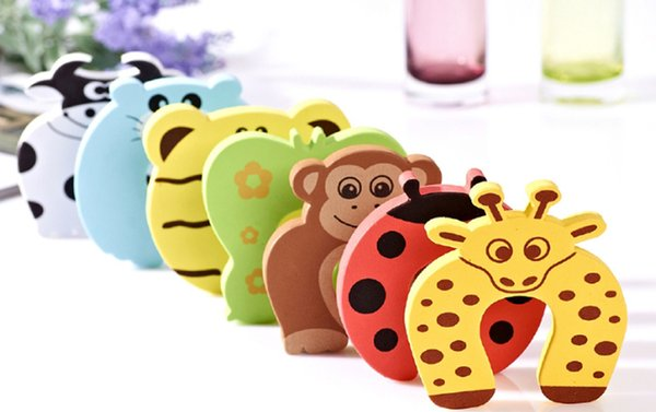 best selling (7 Colors) Cartoon Stop Door stopper holder lock Safety Guard Finger Protect, baby Safety Animal Gates