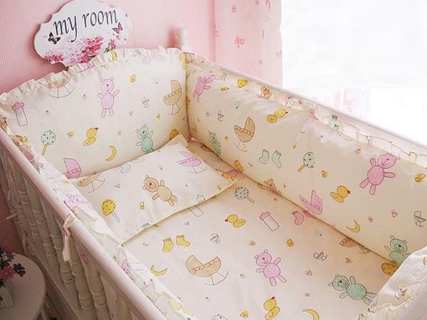 Promotion! 6PCS Cartoon Cot Bumper Baby Crib Bedding Set with Bumper Bedding Set ,include(4bumpers+sheet+pillowcase)