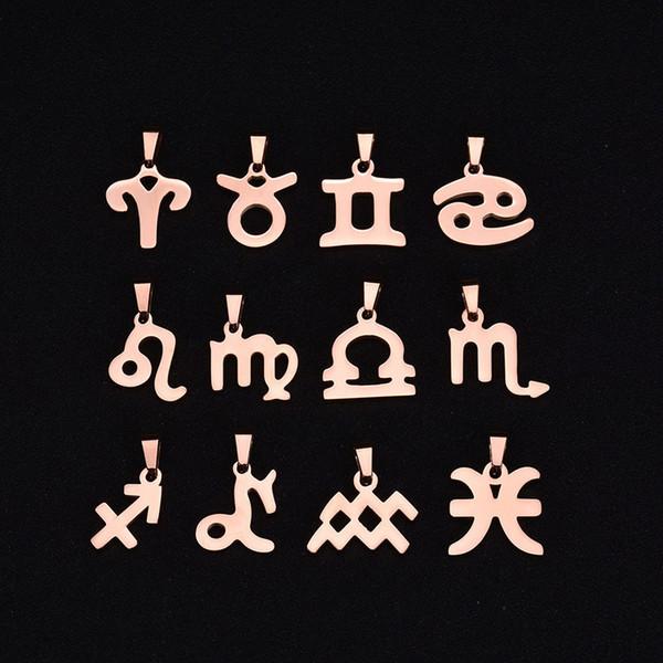 12 Zodiac Signs Constellations Pendants Collana Lovers Collana con pendente Gold Pose Collana con placcatura in oro Donna uomo Miglior regalo di Natale