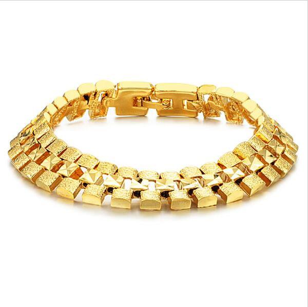 Fine JEWELRY Box Packing! Brand Design 18K gold plated Chunky bracelets 12mm X 18.5cm luxury Wedding Jewelry, FREE SHIPPING 742