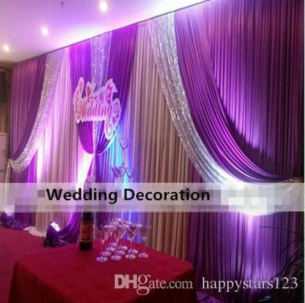 Free DHL 3*6m White Wedding Swags Drapes Wedding Backdrops Curtain 20ft (w) x 10ft (h) for Wedding Party Decoration