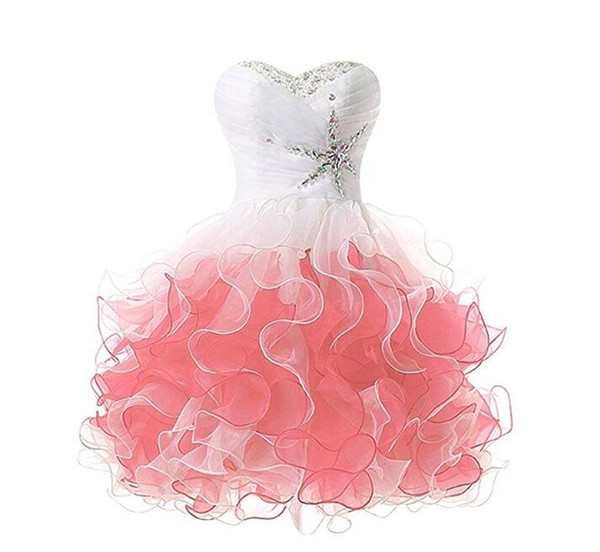 Ball Gown Fit & Flare Strapless Short / Mini Satin Organza Cocktail Party Prom Dress with Side Draping Sequins