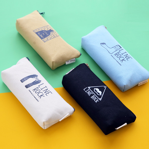 Wholesale-2016 pen box pouch bag bags school canvas pencil case vintage stationery printing large South Korea cute cheap art stationery