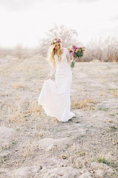 Langarm Einfache Brautkleider 2016 Volle Hülse V-ausschnitt Flügelärmeln Vestido De Novia Volle Spitze Modest Brautkleider
