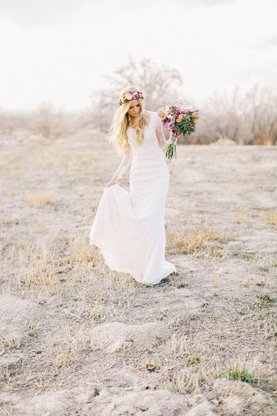 best selling Long Sleeve Simple Wedding Dresses 2016 Full Sheath V Neck Cap Sleeve Vestido De Novia Full Lace Modest Bridal Gowns