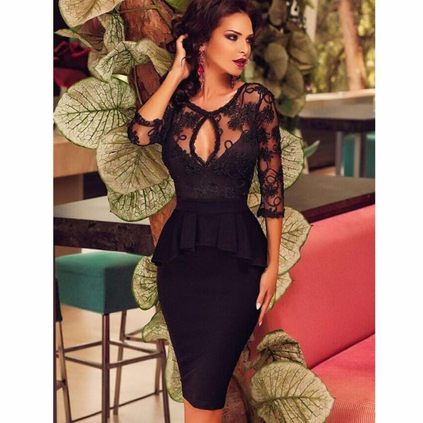 2018 Sexy Black Knee Length Cocktail Party Dresses Sheer 3/4 Long Sleeves Lace Peplum Women Formal Club Wear