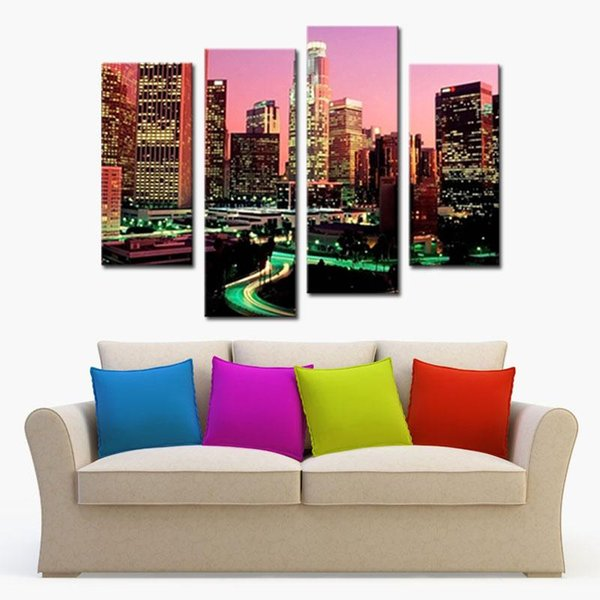 Wall Art Painting Los Angeles With Nice Night Scene Prints On Canvas The Picture City Pictures Oil For Home Modern Decoration Print Decor