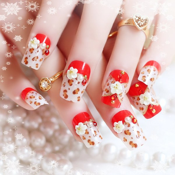 Fashion Long Full Cover False Nails French Ellipse Red Wine Oblique ...