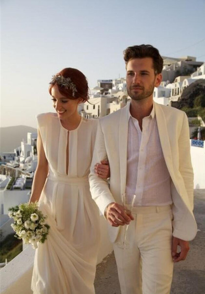 Beach White Tuxedos Men Suits for Men Custom Made Groom Wedding Suits Groom Tuxedos Best Man Suits Jacket+Pants