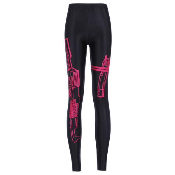 best selling Women's Gun Digital Printing Elastic Slim Sports Leggings Pants Woman Plus Size Fashion Printed Stretch Fitness Bodycon Trousers Size S-4XL