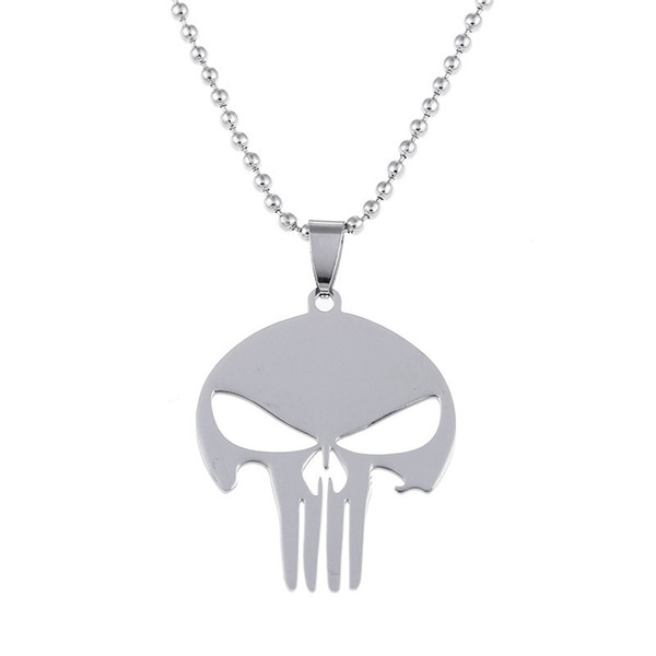 Free Shipping 10Pc/Lot Marvel Jewelry Super Hero The punisher Skull Pendant Necklace Metal Stainless Steel Chain Necklace Movie Jewelry