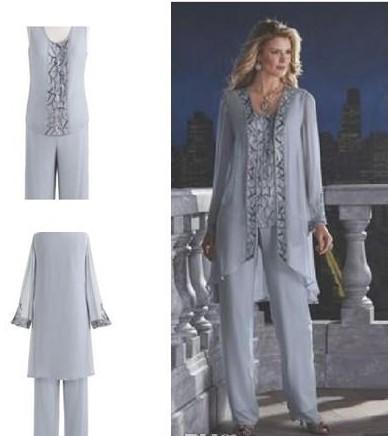 Gelin Damat Anne 3 Parça Pantolon Takım Elbise Gümüş Şifon Plaj Düğün Anneler Elbise Uzun Kollu Boncuk Resmi Akşam Aşınma