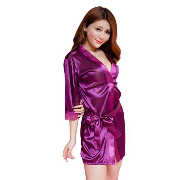ff8a40e81e Wholesale- 2017 Hot Sexy Lingerie Bathrobe Satin Womens Nightgowns Soft Ice  Silk Nighty Dress Sexy Babydoll Sleepwear Night Dress