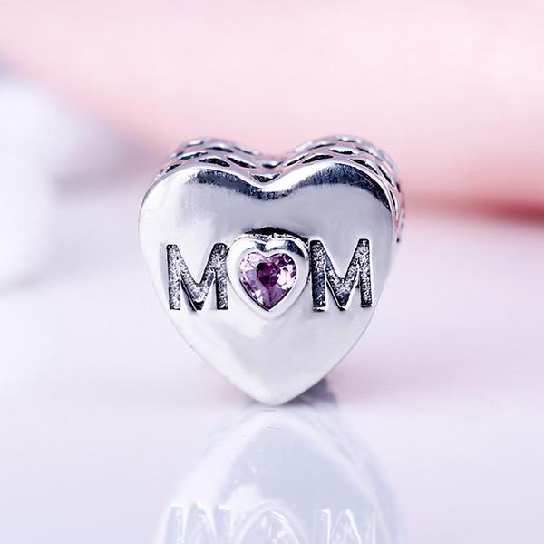 100% Real 925 Sterling Silver Não Banhado A Mãe Do Coração CZ Encantos Encantos Europeus Beads Fit Pandora Pulseira DIY Jóias