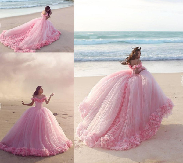 top popular New Puffy 2019 Pink Quinceanera Gowns Princess Cinderella Formal Long Ball Gown Bridal Wedding Dresses Chapel Train Off Shoulder 3D Flowers 2021