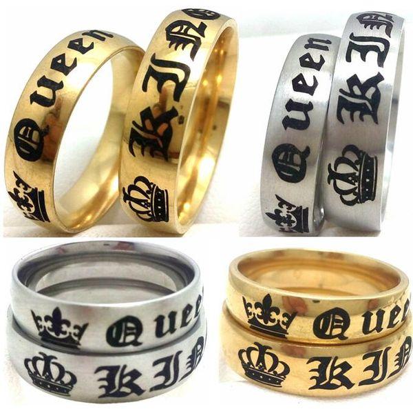 Оптовая продажа 50 шт. золото серебро микс обручальные кольца для любовника его королева и ее король из нержавеющей стали Король и королева кольца обручальное партия ювелирных изделий