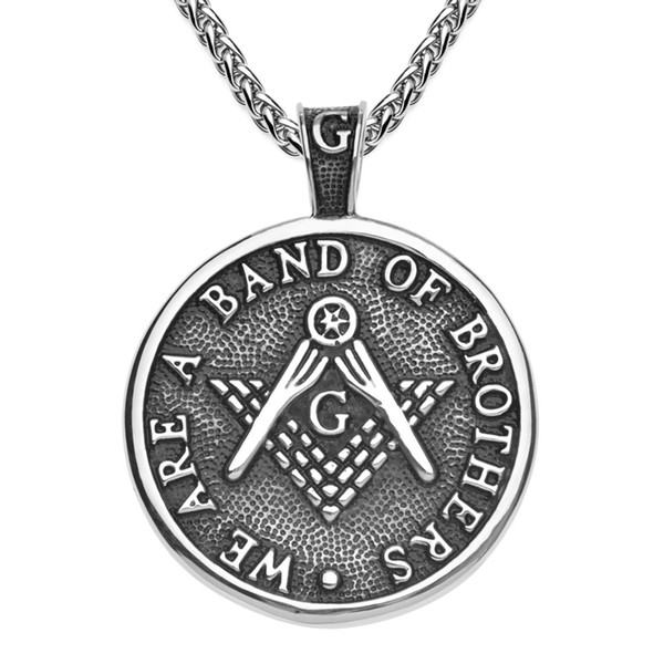 Retro silver antique black stainless steel men's masonic pendant with words WE ARE A BAND OF BROTHERS