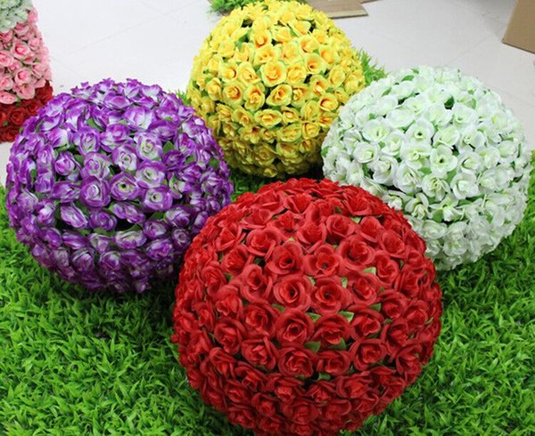 30 cm 12 inch Pink Red White Purple Yellow Color Artificial Fabric Roses Flower Kissing Balls Hanging Ball for Party Wedding Decorations