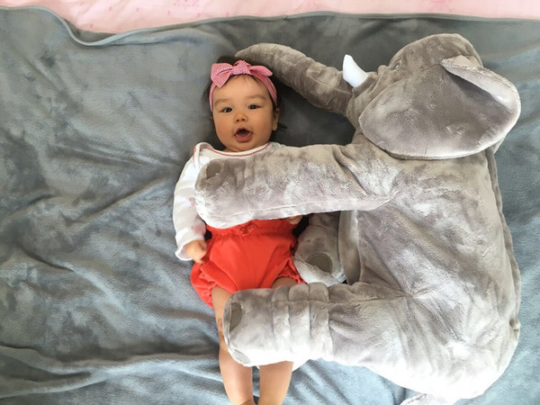 top popular 5colors Baby Elephant Pillow Plus Animals Toys Lovely Soft Plush Dolls Baby Safe High Quality Sleep Calm Toys Room Bed Decoration Plush Toys 2021