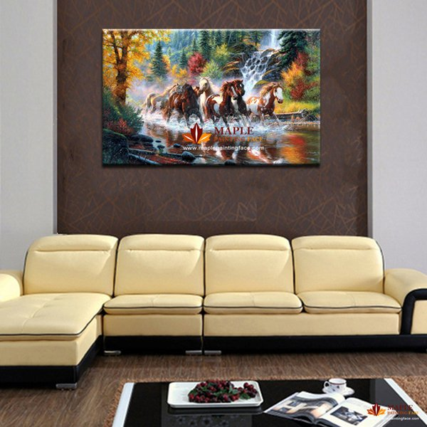 HUGE MODERN ABSTRACT OIL PAINTING PRINTED ON CANVAS RUNNING HORSE HOME DECORTION WALL ART PICTURE FOR LIVING ROOM NO FRAMED