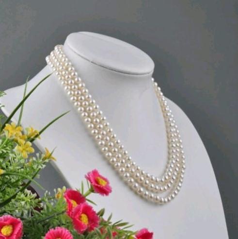 Collier de perles naturelles blanches à 3 rangées de 7 à 8 mm avec fermoir en argent 925